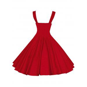 Backless Mini Vintage Cocktail Party Skater Dress - RED S