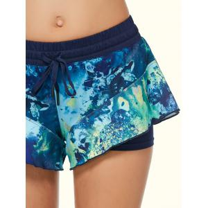 Tie Dye Double Layer Running Shorts - BLACK XS