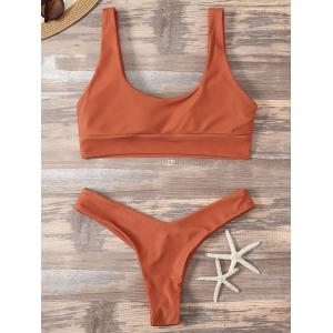 High Cut Sporty Two Piece Swimsuit - ORANGE RED M
