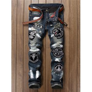Applique Embroidered Ripped Jeans