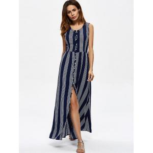 Ankle Length Vertical Striped Maxi Slit Dress - PURPLISH BLUE XL
