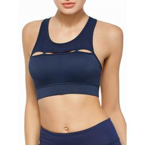 Cutout Sports Padded Crop Top Bra - Blue - S
