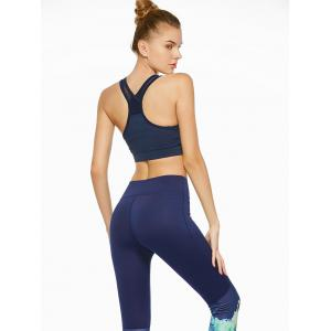 Cutout Sports Padded Crop Top Bra - BLUE XL