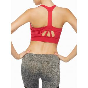 Cutout Padded Sports Racerback Bra - Red - S