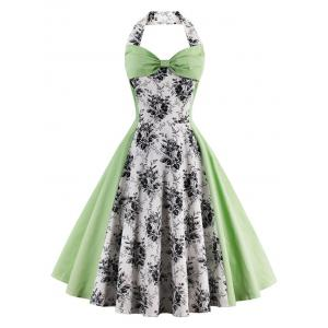 Vintage Halter Floral Pin Up A Line Dress - Light Green - 2xl