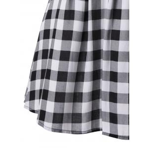 Single Breasted Sleeveless Plaid Dress - WHITE/BLACK 2XL