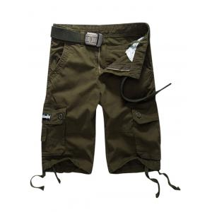Button Pocket Cargo Shorts - Army Green - 32