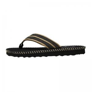 Striped Letter Pattern Flip Flops - BLACK 43