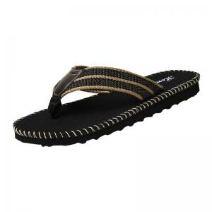 Striped Letter Pattern Flip Flops - Black - 40