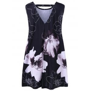 Cut Out Floral Plus Size Tank Top - BLACK 2XL