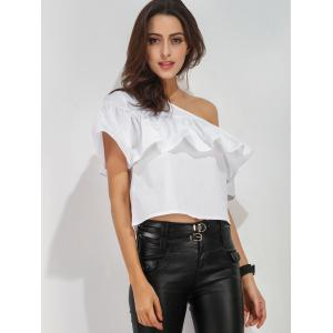 Ruffle Layer One Shoulder Blouse - WHITE XL