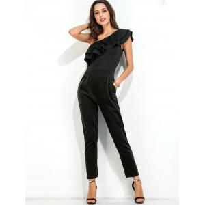 Ruffle Layer One Shoulder Jumpsuit - BLACK M