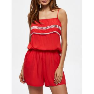 Convertible Flounce Lace Insert Romper with Pockets - Red - M