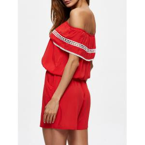 Convertible Flounce Lace Insert Romper with Pockets - RED 2XL