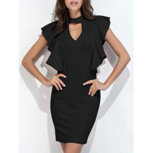Ruffle Choker Neck Bodycon Dress Short Club Dresses