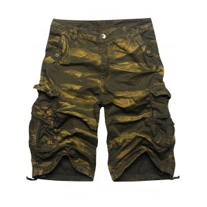 Zip Fly Multi Pockets Cargo Shorts - Army Green Camouflage - 34