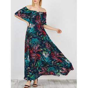 Off Shoulder Maxi Print Swing Capelet Dress - Purplish Blue - L