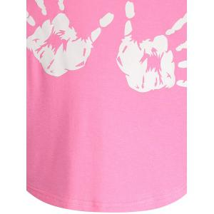 Letter Palm Print Ruched Long Tee - PINK L