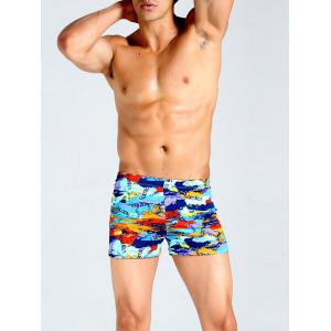 Lace Up Colorful Camo Graphic Print Swimming Trunks