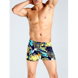 Lace Up Colorful Graphic Print Swimming Trunks
