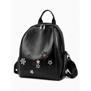 Faux Leather Flower Embroidery Backpack - BLACK
