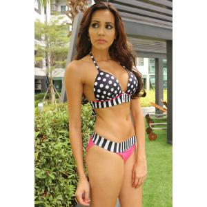 Sexy Halter Polka Dot Spliced Women's Bikini Set - WHITE AND BLACK L
