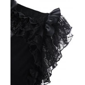 Lace Trim Butterfly Sleeve Ruffle Blouse - BLACK 2XL