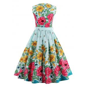 Vintage Floral Print Fit and Flare Dress - LIGHT GREEN M