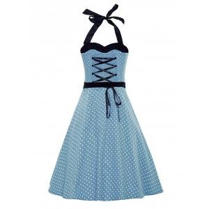 Vintage Halter Polka Dot Belted Dress -