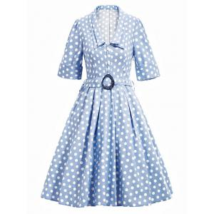 Vintage Belted Polka Dot Flare Dress