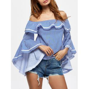Off The Shoulder Striped Flounce Blouse -