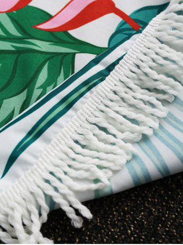 New Leaves Flower Round Fringed Beach Throw - ONE SIZE GREEN Mobile