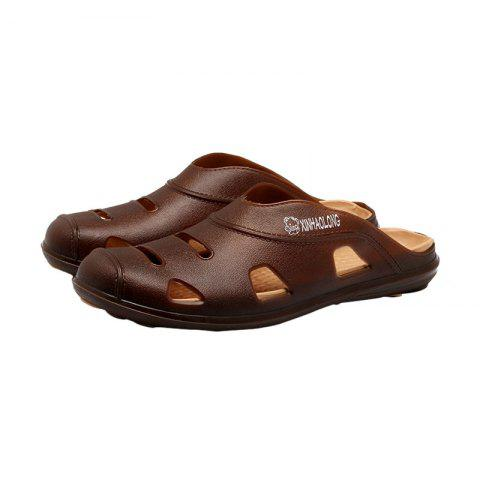 Online Hollow Out Letter Pattern Slippers - 43 BROWN Mobile