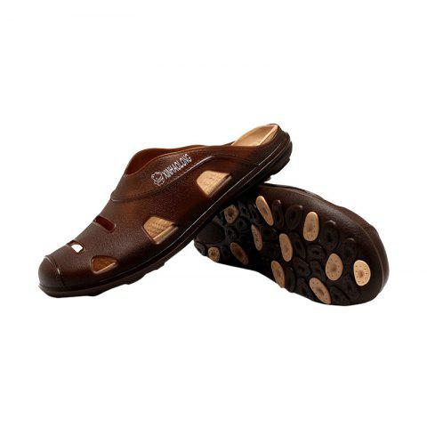 Outfits Hollow Out Letter Pattern Slippers - 43 BROWN Mobile