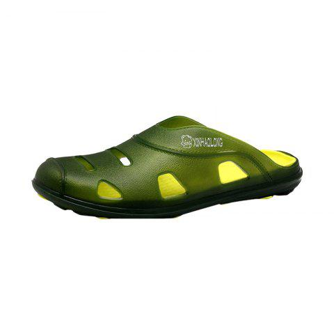 Best Hollow Out Letter Pattern Slippers - 40 GREEN Mobile