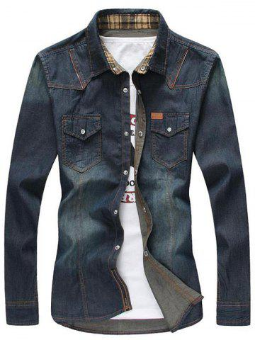 Zipper Pockets Bleach Wash Denim Long Sleeve Shirt - Deep Blue - 3xl