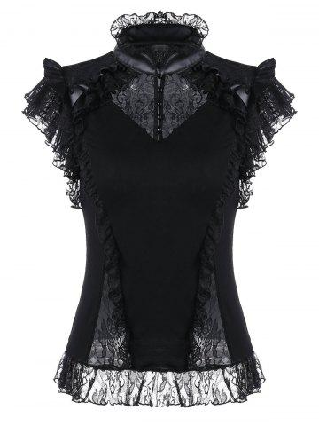 Shop Lace Trim Butterfly Sleeve Ruffle Blouse