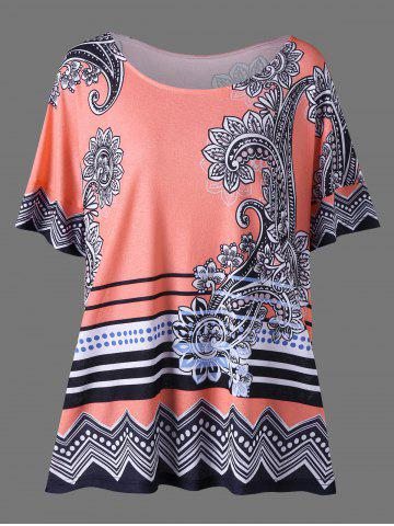 Buy Floral Side Slit Plus Size Casual T-Shirt - 2XL ORANGEPINK Mobile