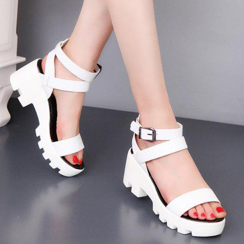 Buy PU Leather Ankle Strap Sandals - White 39
