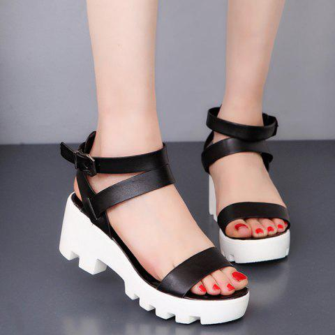 Trendy PU Leather Ankle Strap Sandals BLACK 39