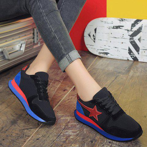 Cheap Color Block Star Pattern Athletic Shoes - 38 BLACK Mobile