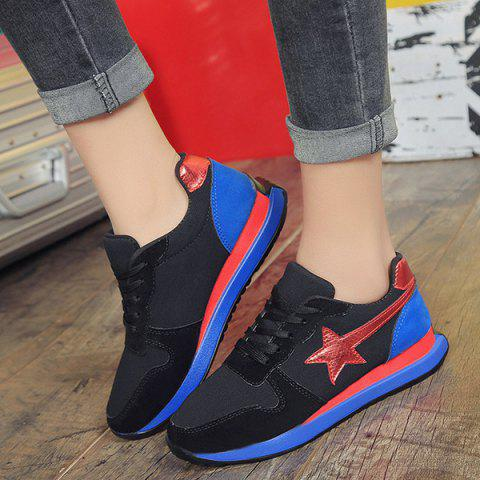 Color Block Star Pattern Athletic Shoes - Black - 38