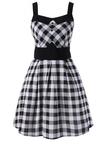 New Single Breasted Sleeveless Plaid Dress WHITE AND BLACK XL