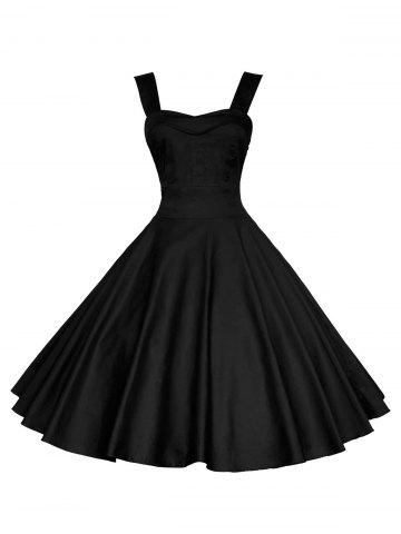 Shop Backless Mini Vintage Cocktail Party Skater Dress - M BLACK Mobile