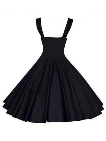 Outfit Backless Mini Vintage Cocktail Party Skater Dress - M BLACK Mobile