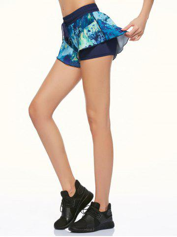 Hot Tie Dye Double Layer Running Shorts - XS BLACK Mobile