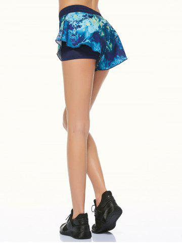 Fashion Tie Dye Double Layer Running Shorts - XS BLACK Mobile