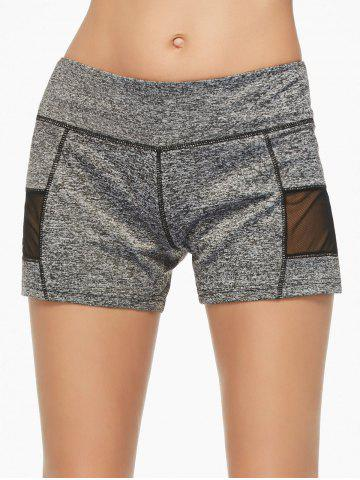 Fancy Mesh Panel Running Shorts GRAY M