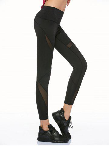 Fashion Mesh Panel Running Leggings - S BLACK Mobile