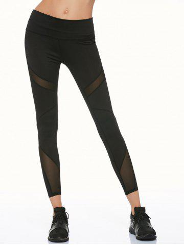 Hot Mesh Panel Running Leggings - S BLACK Mobile